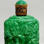 Art Nouveau Malachite Glass Czechoslovakian Signed Perfume Bottle