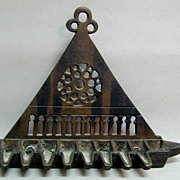 Wonderful Antique Bronze Hanging Oil Menorah, c. 1900