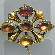 Lovely 18K Gold Citrine or Foilback Paste Georgian Brooch