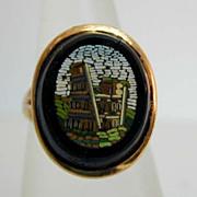 Antique 14K Gold Micromosaic Scene Ring