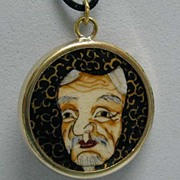 Antique Satsuma Hand Painted Mask Pendant in 14K Gold Frame