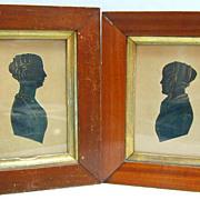 Regency Miniature Silhouette Portrait Pair - Elizabeth & Emma Prideaux
