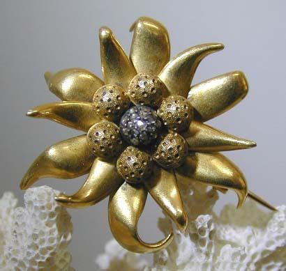 19th. c. French 22K & Diamond Edelweiss Brooch