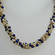 Exquisite Vintage Seed Pearl, Lapis 14K Gold 4-Strand Torsade Necklace