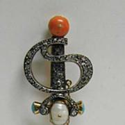 Rare, Exquisite Treasure - Diamond, Coral, 14K Gold Large Sword Pin