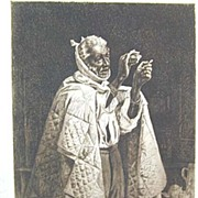 Fine 19th c. Black Americana - T.W. Wood Signed Etching