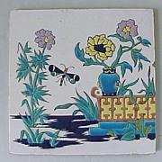 Antique French HP Enamel Montreau Creil Tile