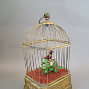 SALE Antique German Karl Griesbaum singing Bird in Cage Automaton