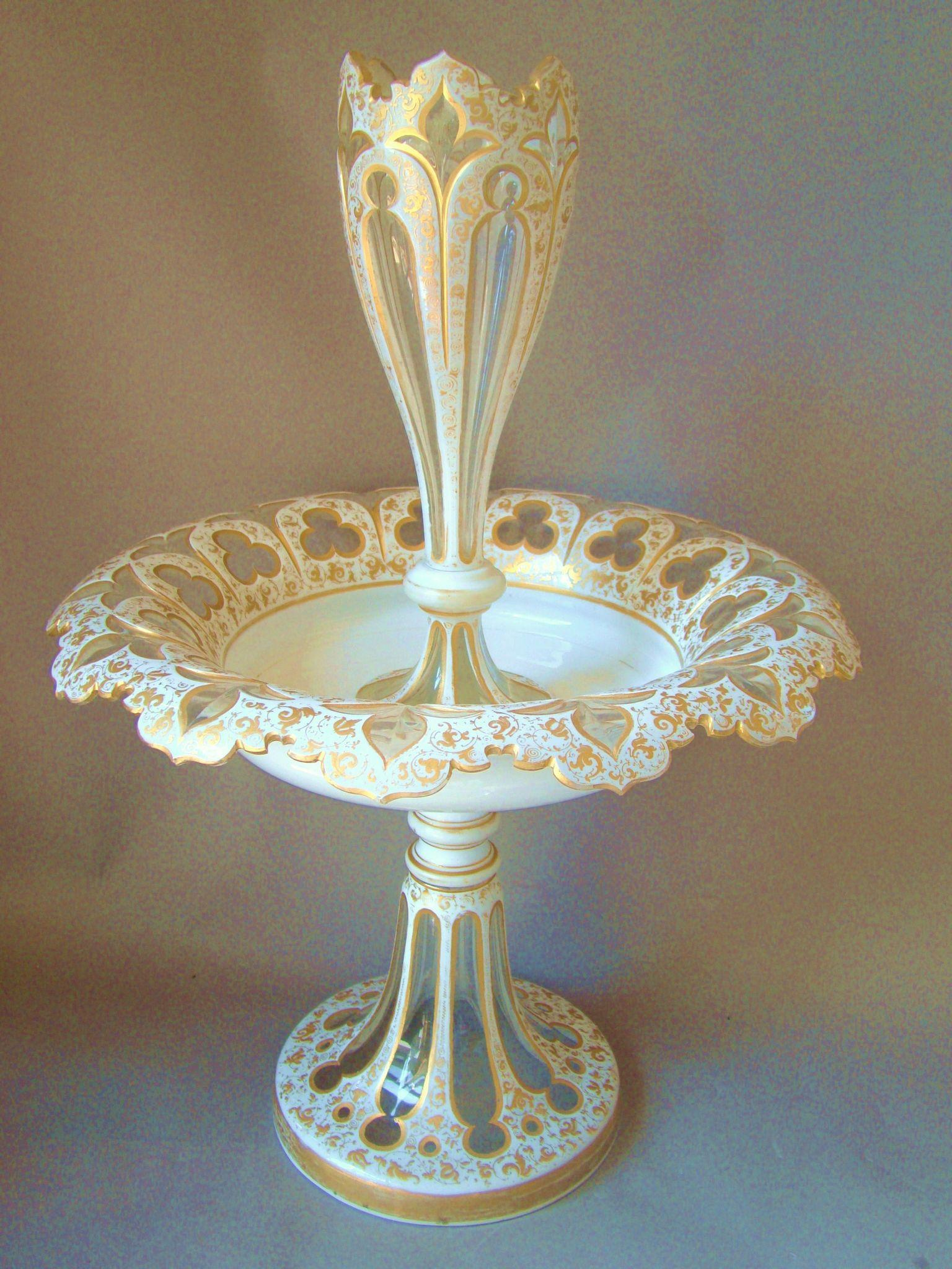 Huge Antique Bohemian Opaline Glass Epergne Moser Cut