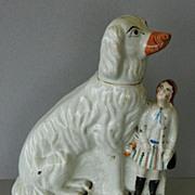 SALE Antique Staffordshire Afghan Dog & Child