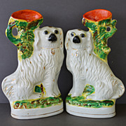 Antique Staffordshire Dog Spill Vases