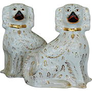 Large Antique Pair White & Gilt Staffordshire Dogs ~ C1880