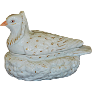 C1860 Antique Staffordshire Pigeon On Nest Tureen