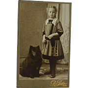 SOLD Antique CDV Photograph ~ Lovely Girl With Her Spitz Dog