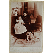 "SOLD Antique Cabinet Photograph ~ Family With Dog Named ""Harold"""
