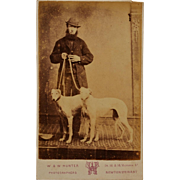 SOLD Antique CDV Photograph ~ Scottish Man With Greyhound Dogs
