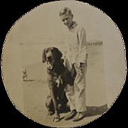 Vintage Paper Photograph ~ Faithful Dog With Boy