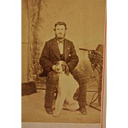 Antique French Dog CDV Photograph ~ Hound With His Master
