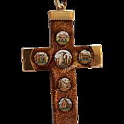 REDUCED Antique Micro Mosaic 14k Gold Cross C1850