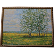 Beautiful Oil Painting ~ Labrador Dog Hunting In A Field Of Mustard