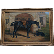SALE Large Oil Painting ~ Handsome Horse With Dog