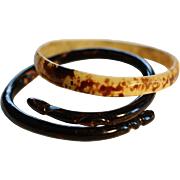 SALE Pair Antique 19C Carved Horn Bracelets