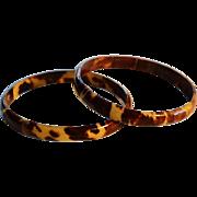 SALE Pair Antique 19C Faux Tortoiseshell Bracelets