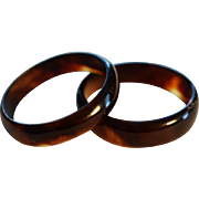 REDUCED Pair Of Victorian 19C Faux Tortoiseshell Rings
