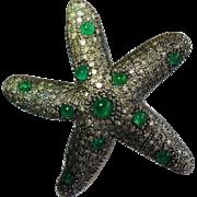 Diamond & Emerald Starfish Ring