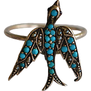 SALE PENDING Antique Turquoise & Pearl Swallow Ring