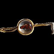 SALE Antique Reverse Crystal Horse Brooch