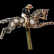 SALE Victorian Diamond Stickpin ~ Horse And Jockey