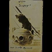 "WW1 Dog Mascot ""Scotty"" RPPC Postcard"
