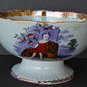Antique  Lustre Punch Bowl Large Dog With Child