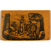 SOLD Antique Mauchline Ware Snuff Box ~ Hunting Dogs ~ Reserved For Rosanne