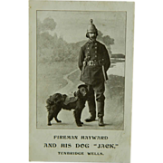 "Fireman Hayward & His Dog ""Jack"" Tunbridge Wells Postcard"