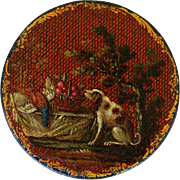 Early Antique Lacquered Snuff Box ~  Dog With Game Painting