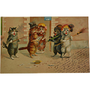 Antique French Postcard ~ Singing Cats