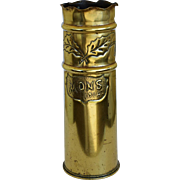 """Large WW1 Trench Art Shell ~ Christmas Truce """"Mons 1914"""""""