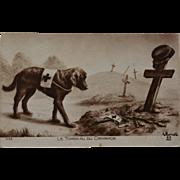 "French WW1 Red Cross Dog Postcard ~ ""Le Tomeau Du Camarade"""