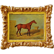 "SOLD Antique English School Oil Painting ~ Horse Named ""Cherry Lad"""