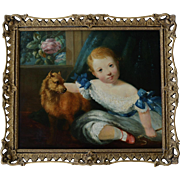 SOLD Antique Oil Painting ~ Portrait Of A Young Girl And Her Dog