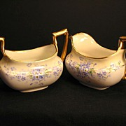 Antique T & V Limoges Porcelain Creamer & Sugar Bowl Stouffer Studio Hand Painted Forget Me Nots Flowers Floral