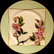Antique Haviland Limoges Porcelain Plate Hand Painted Pink Flowers Artist Initialed Dated 1884