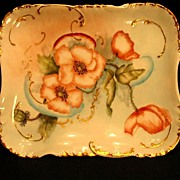 Antique Haviland Limoges Porcelain Tray Hand Painted Poppies Floral Orange Flowers