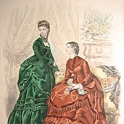 Large Matted H/C Fashion Print La Mode Illustree 1861