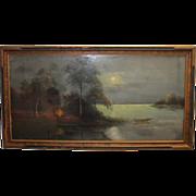 SOLD Original Artwork Lake Woods Beautiful Chalk Pastel on Black Framed 1920's 1930's