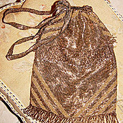 SALE Stunning! Fine Antique Metal Beadwork Purse, Exquisite! 1880-1920