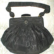 SALE Fine Vintage Black Moire Silk/Jeweled Evening Bag/Purse