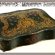 SALE 18th-19th C. French Toleware Writer's Box, Inkwell & Sander